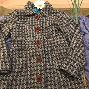 Blue/Brown Tweed Coat II Oversized Brown Buttons